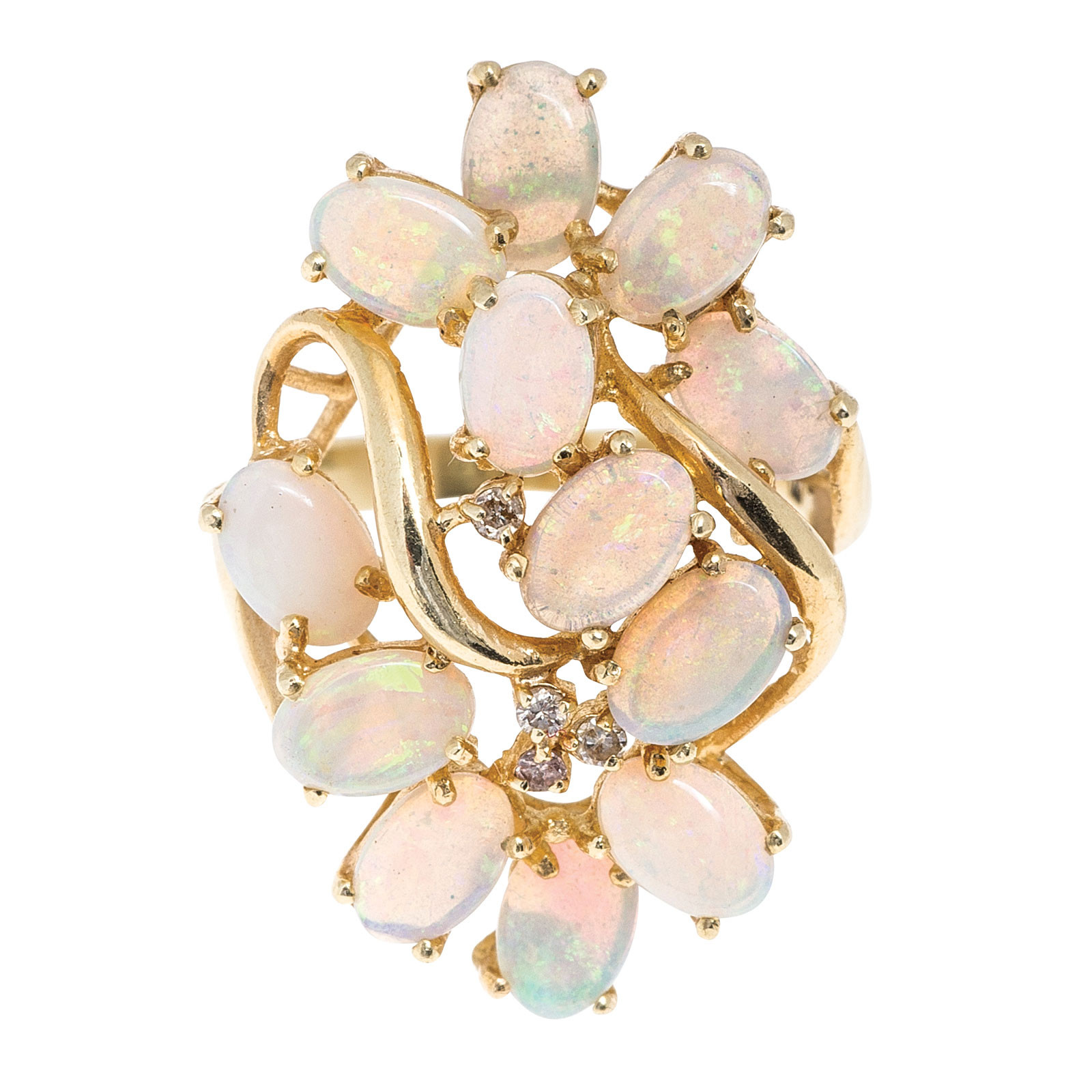 Vintage 3.62 CTW Opal & Diamond Ring