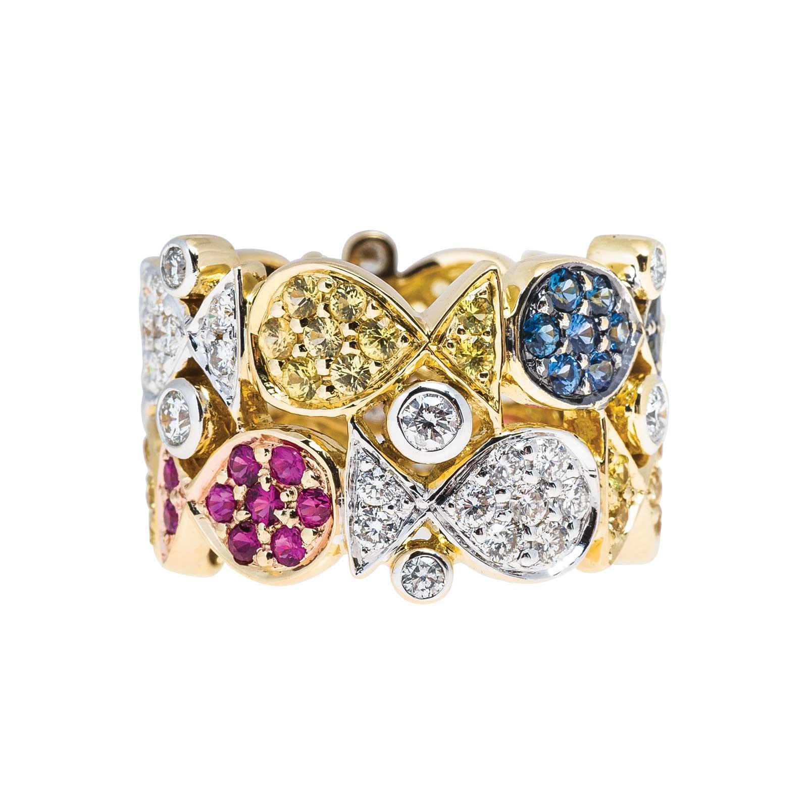Vintage 2.70 CTW Diamond, Ruby & Sapphire Ring