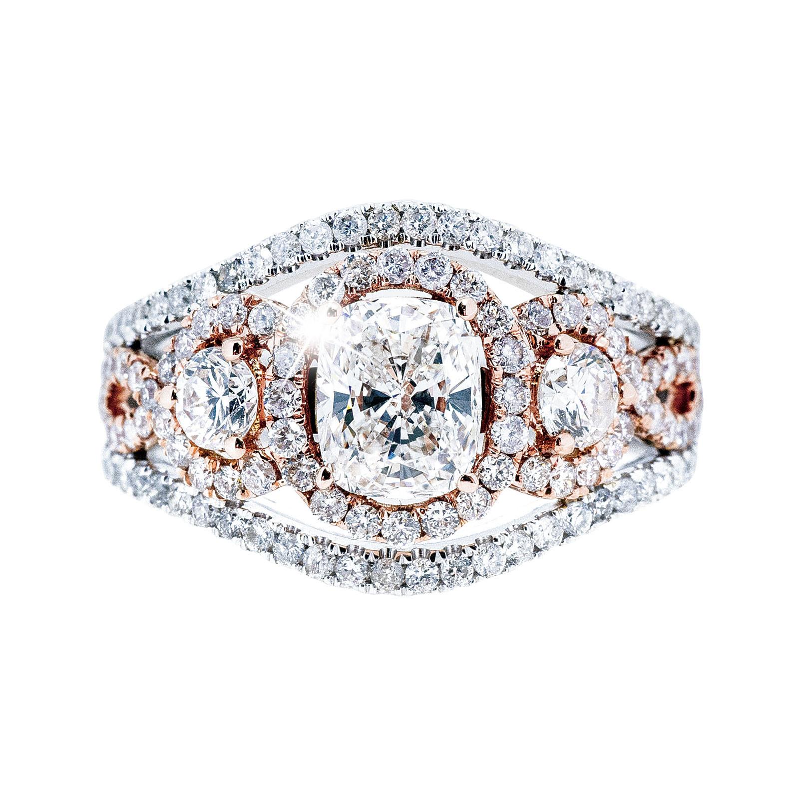 New 2.42 CTW Diamond Three Stone Engagement Ring