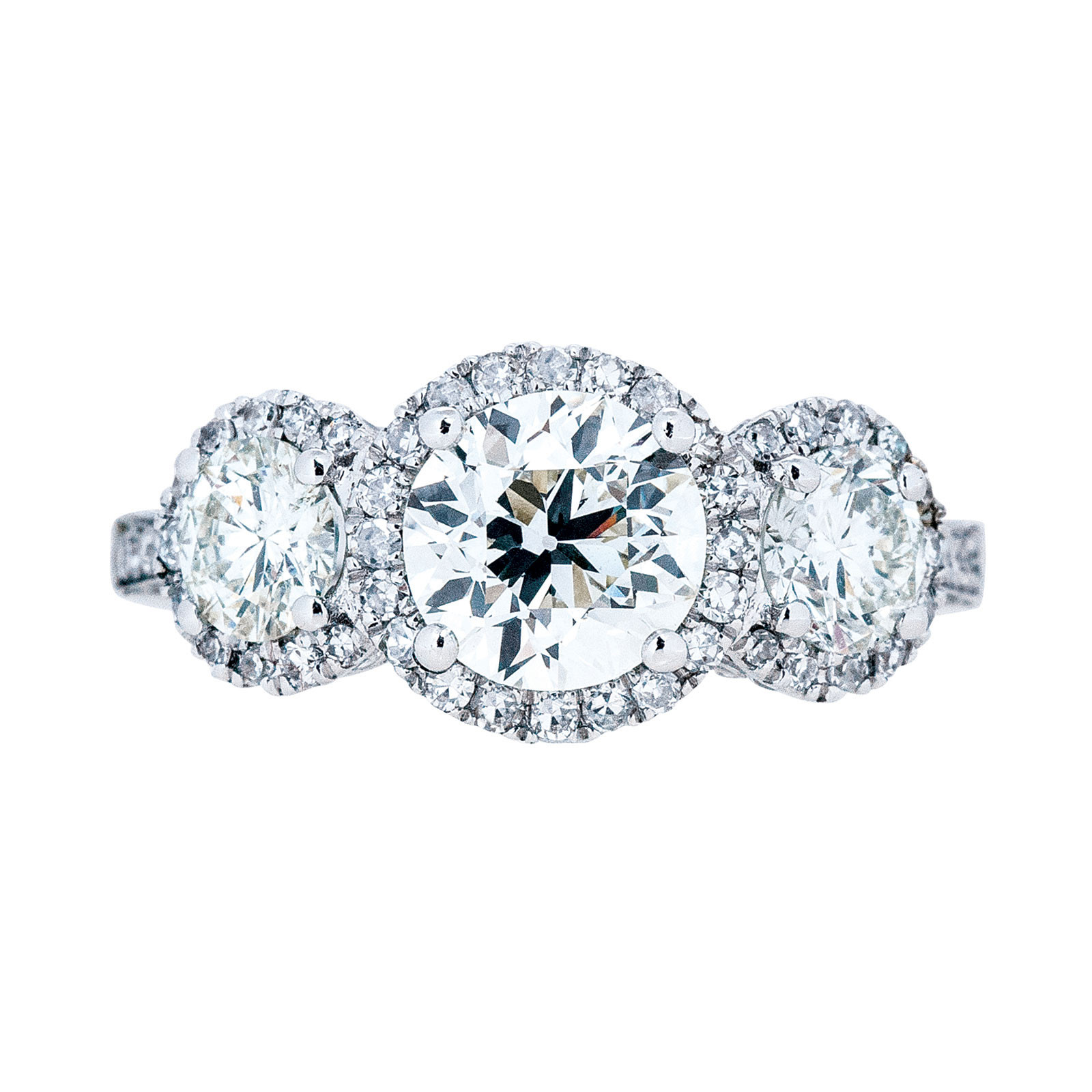 New 2.64 CTW Diamond Three Stone Halo Engagement Ring