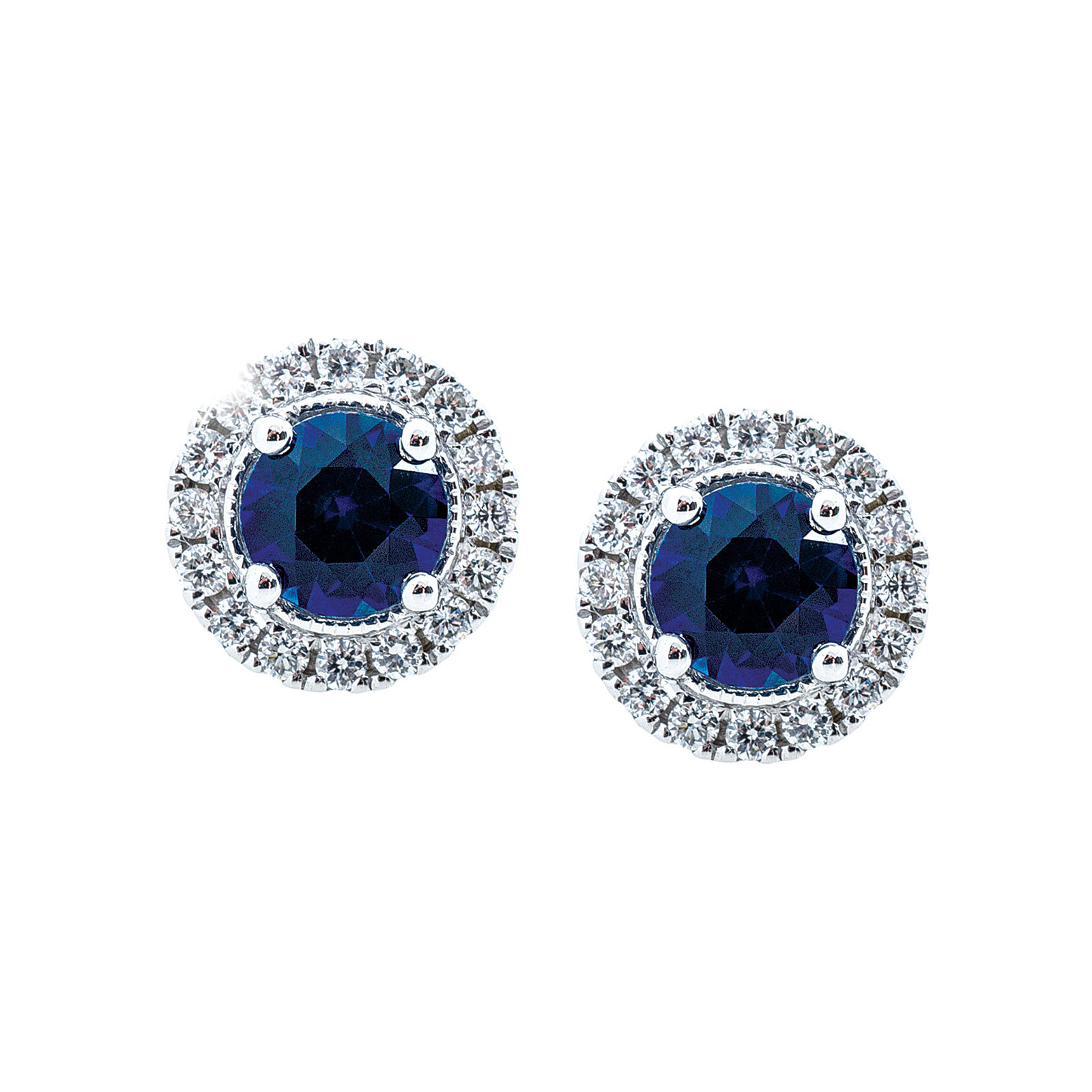 New 0.78 CTW Blue Sapphire & Diamond Stud Earrings