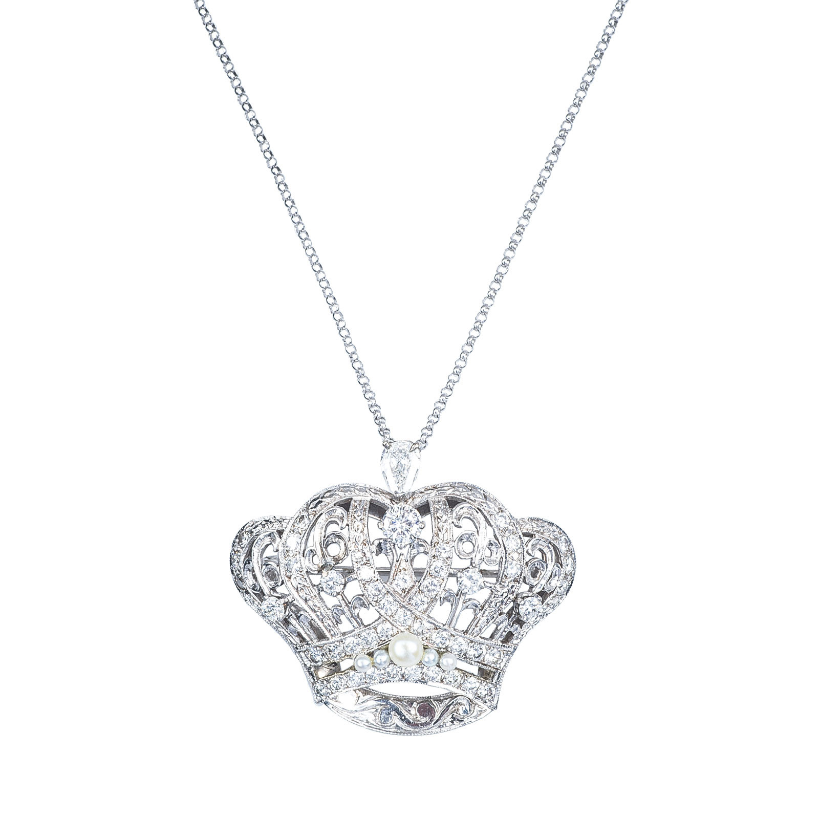 Vintage 1.95 CTW Diamond & Pearl Necklace