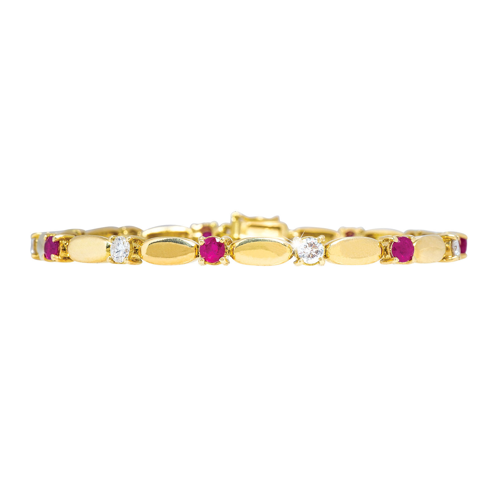 Vintage 1.02 CTW Diamond & Ruby Tennis Bracelet