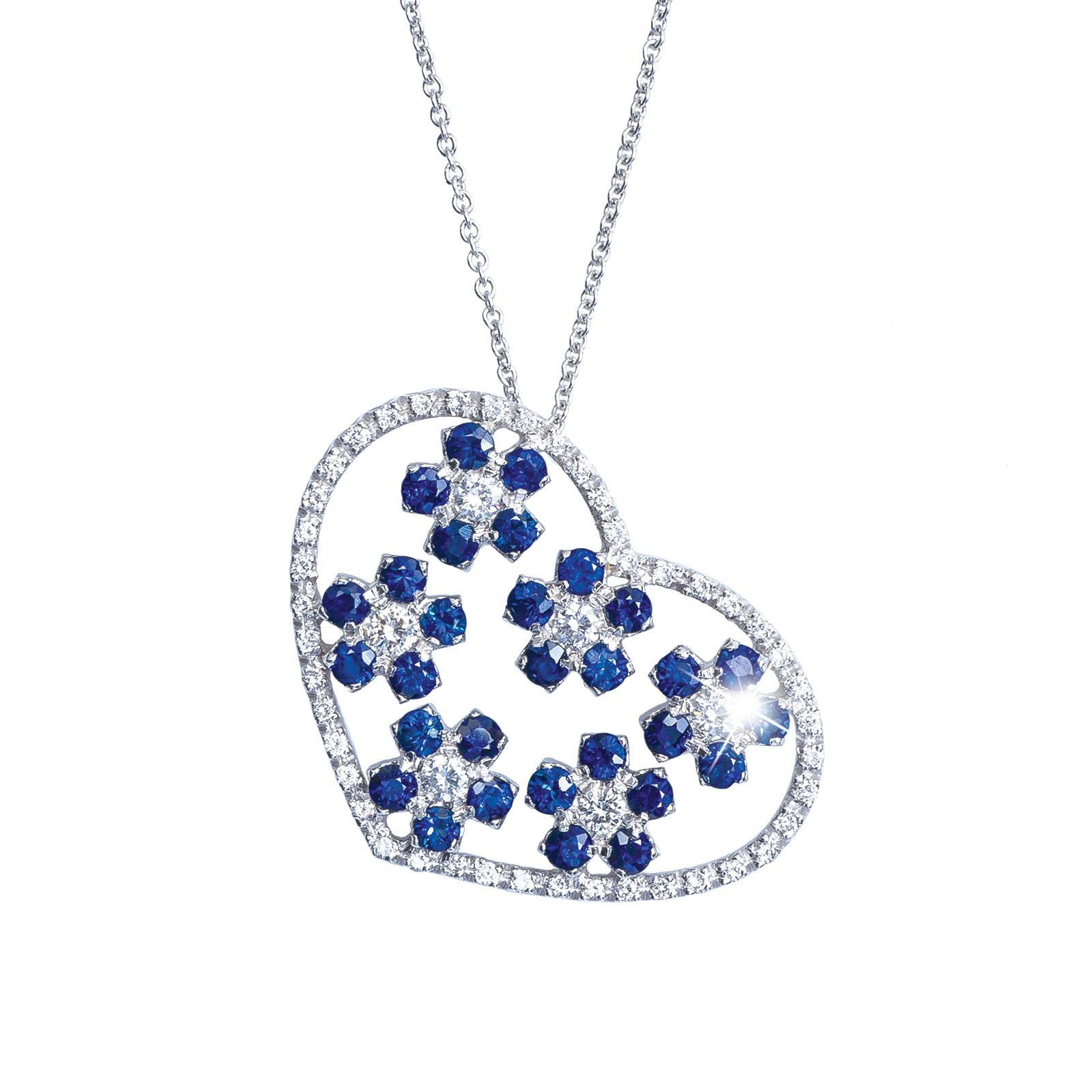 Vintage 2.22 CTW Blue Sapphire & Diamond Necklace