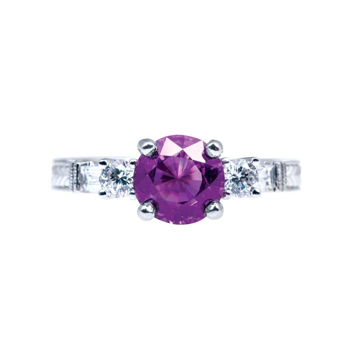 Vintage 1.87 CTW Pinkish Purple Sapphire & Diamond Ring