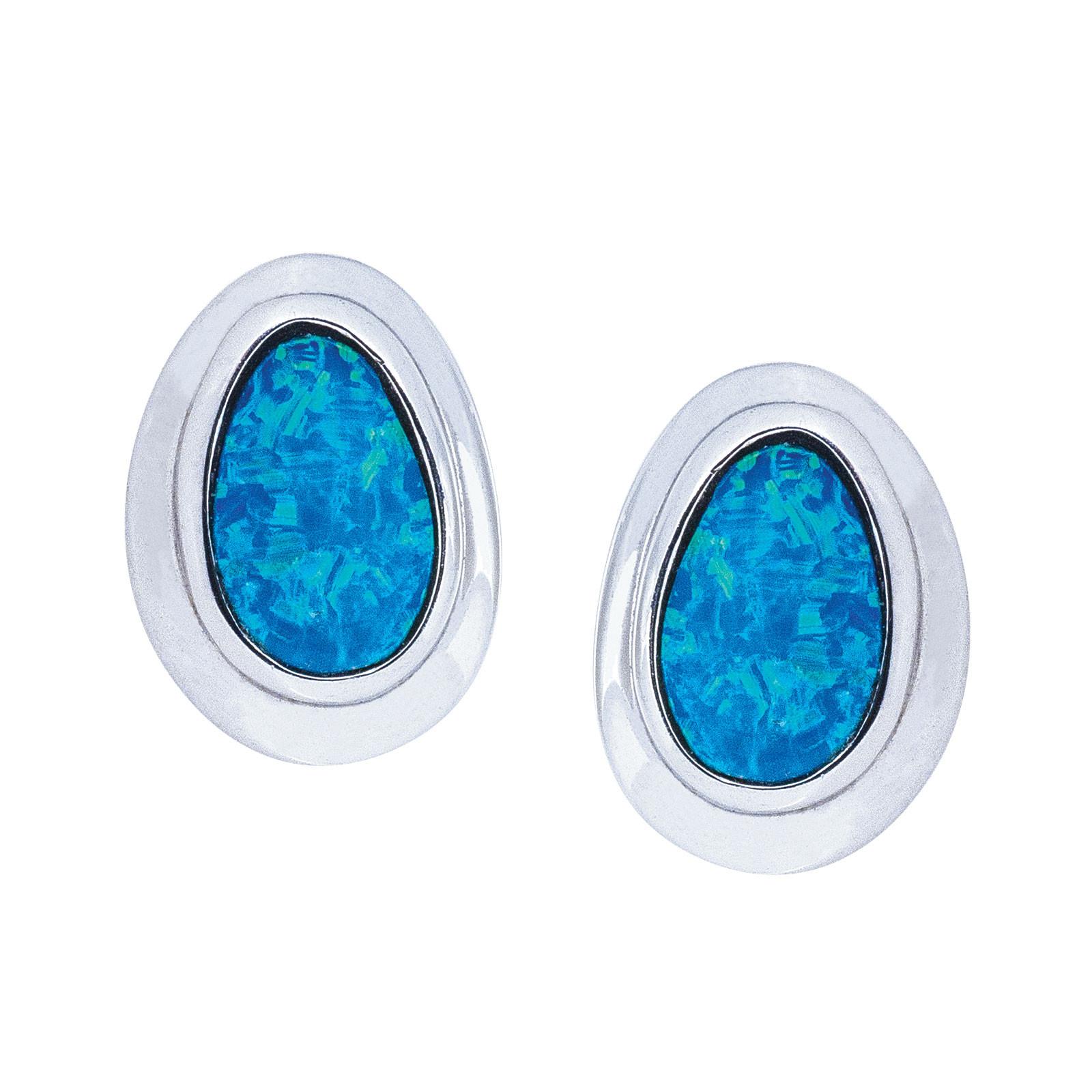 Vintage Blue Opal Doublet Earrings