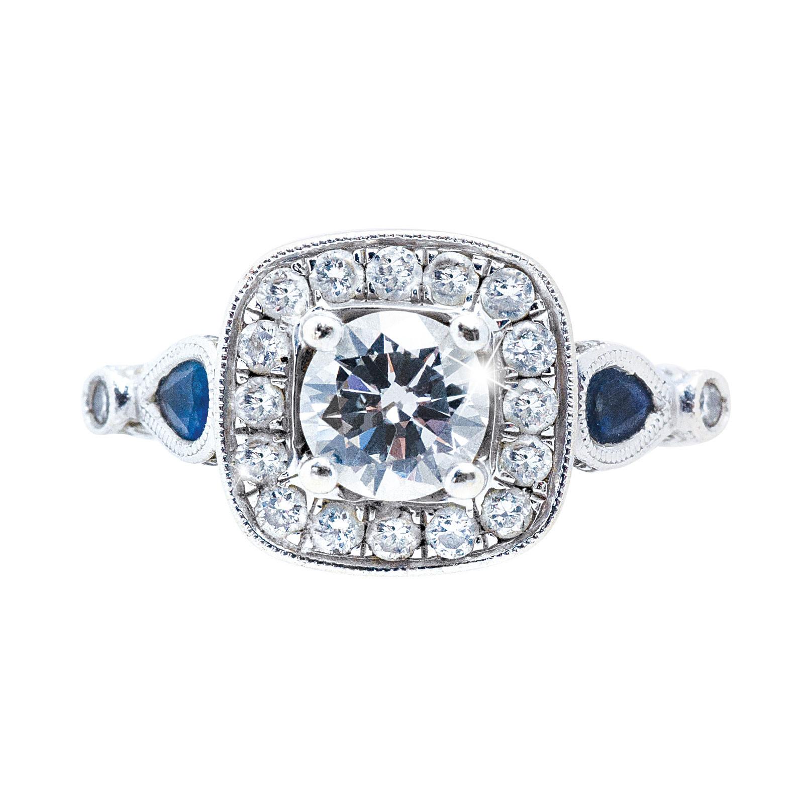 Vintage 1.42 CTW Diamond & Blue Sapphire Engagement Ring