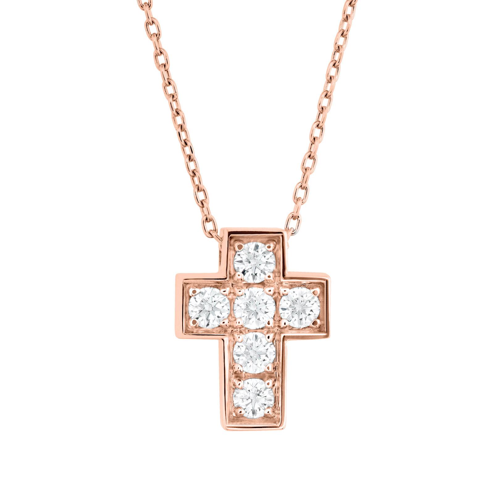 New Hearts On Fire® 0.21 CTW Diamond Divine Mini Cross Necklace