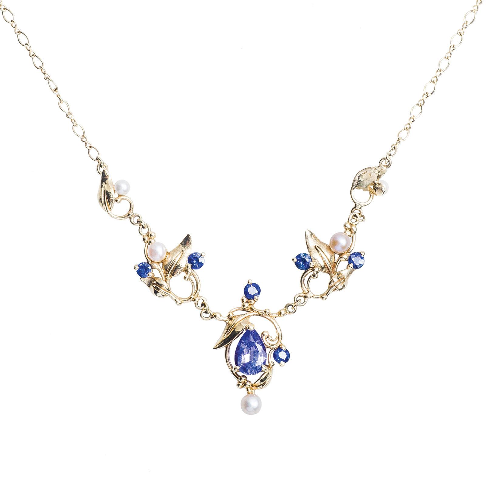 Vintage 1.72 CTW Tanzanite, Sapphire & Pearl Necklace