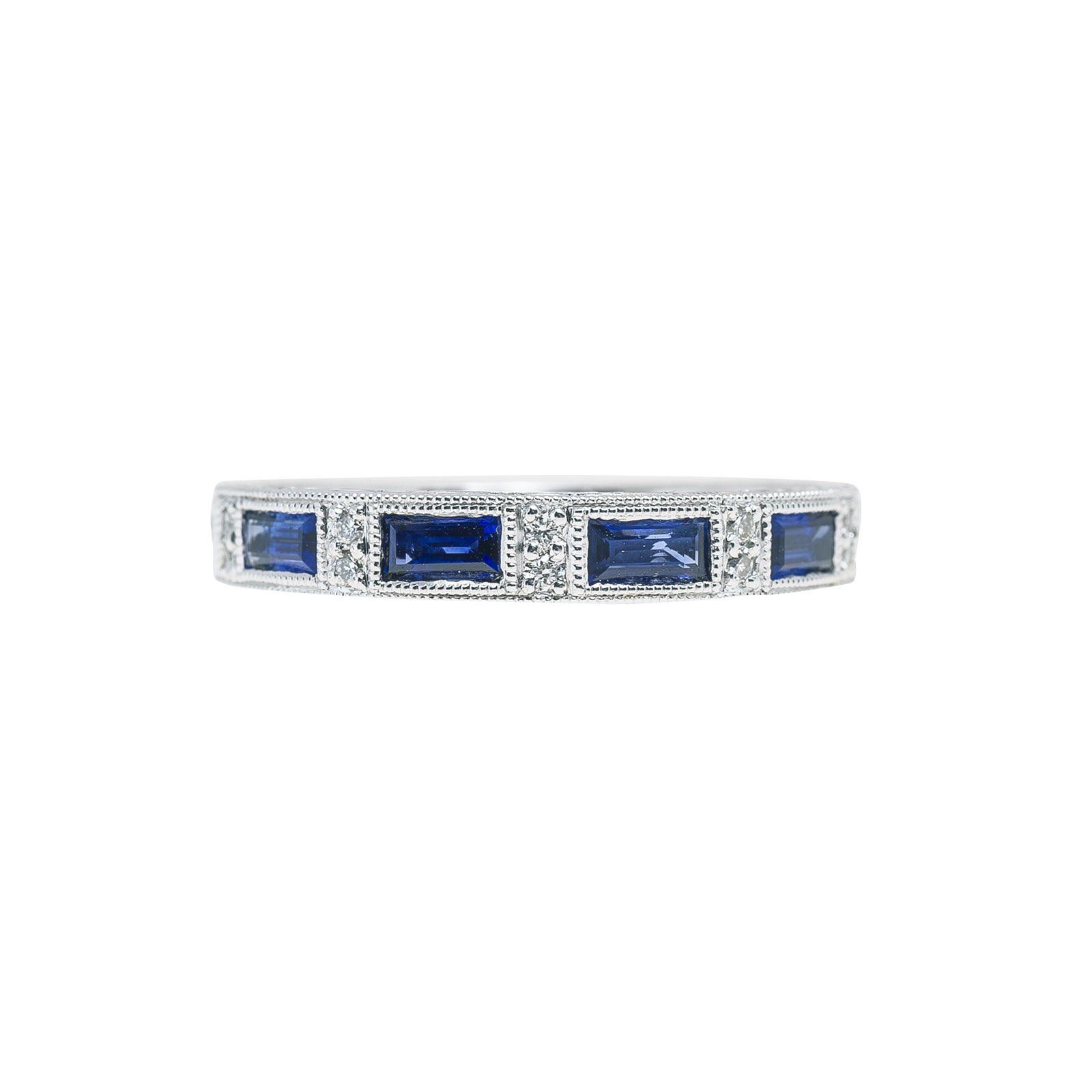 Vintage Kirk Kara Blue Sapphire & Diamond Anniversary Band
