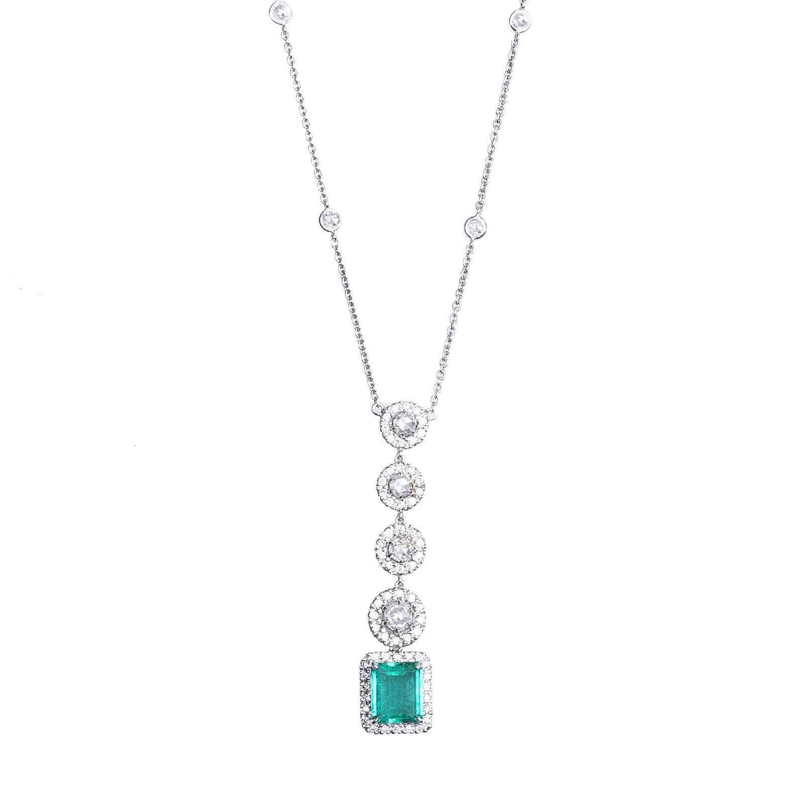 New 2.74 CTW Diamond & Emerald Necklace
