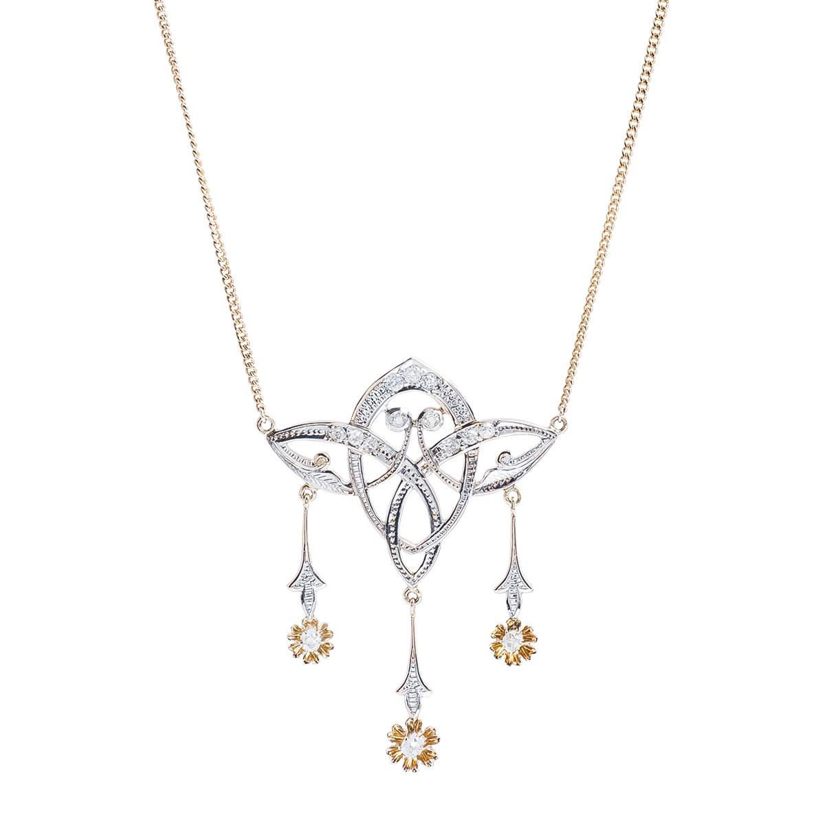 Antique Art Nouveau 0.78 CTW Diamond Flower Necklace