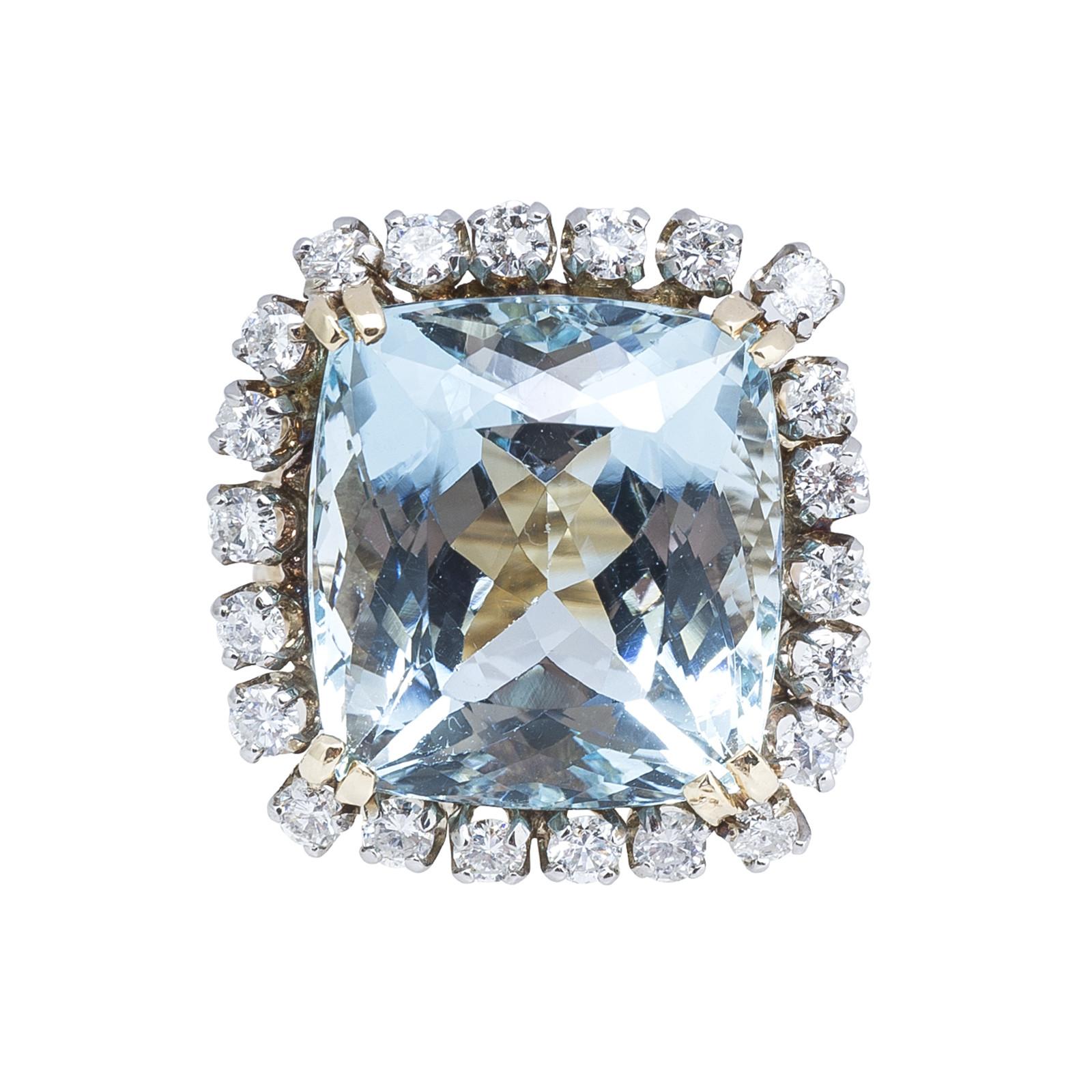 Vintage 17.95 CTW Aquamarine & Diamond Ring