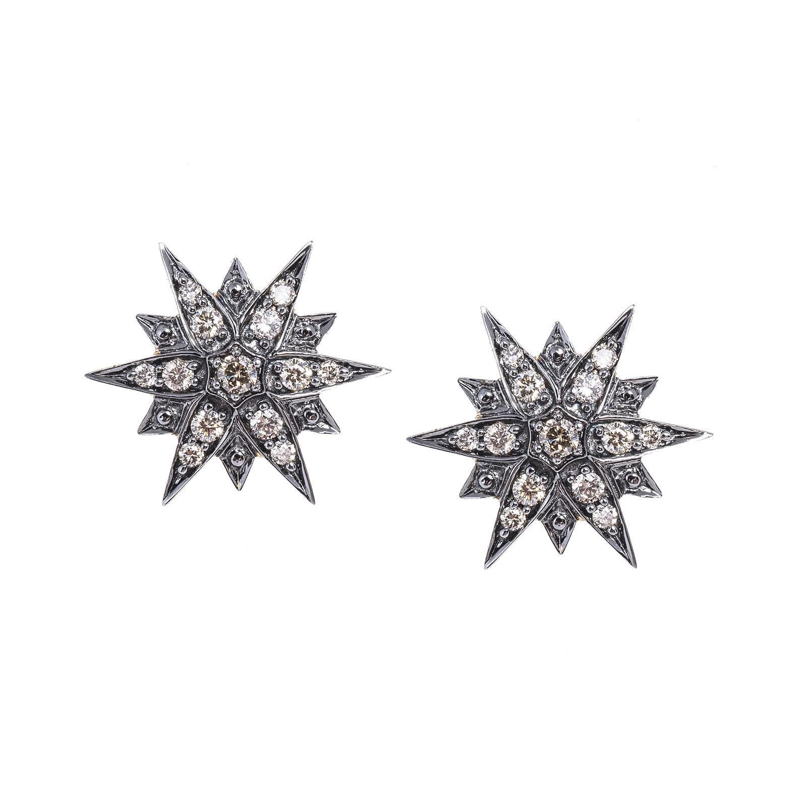 Vintage H. Stern 0.27 CTW Cognac Diamond Star Earrings