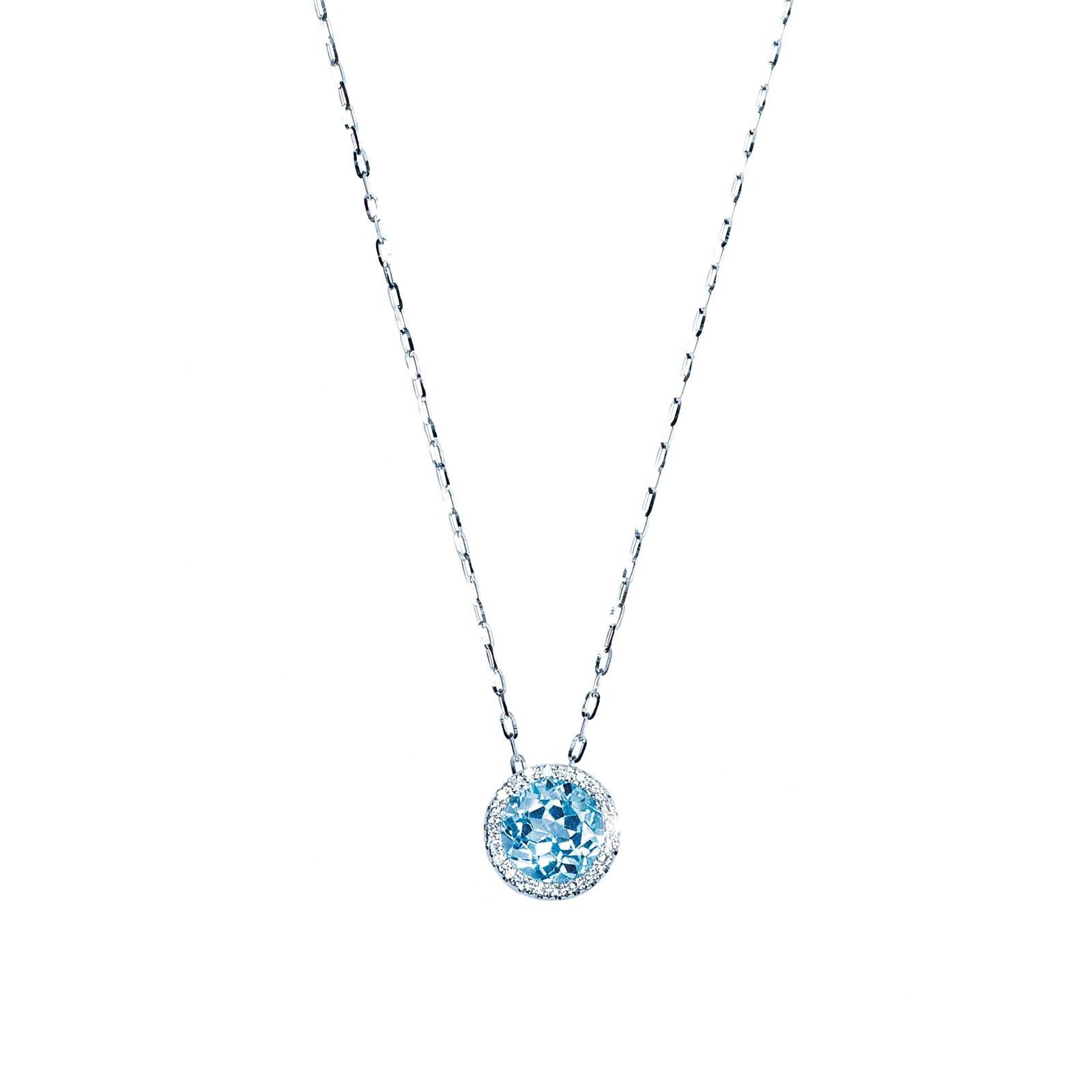 New Madison L 1.78 CTW Blue Topaz & Diamond Halo Necklace