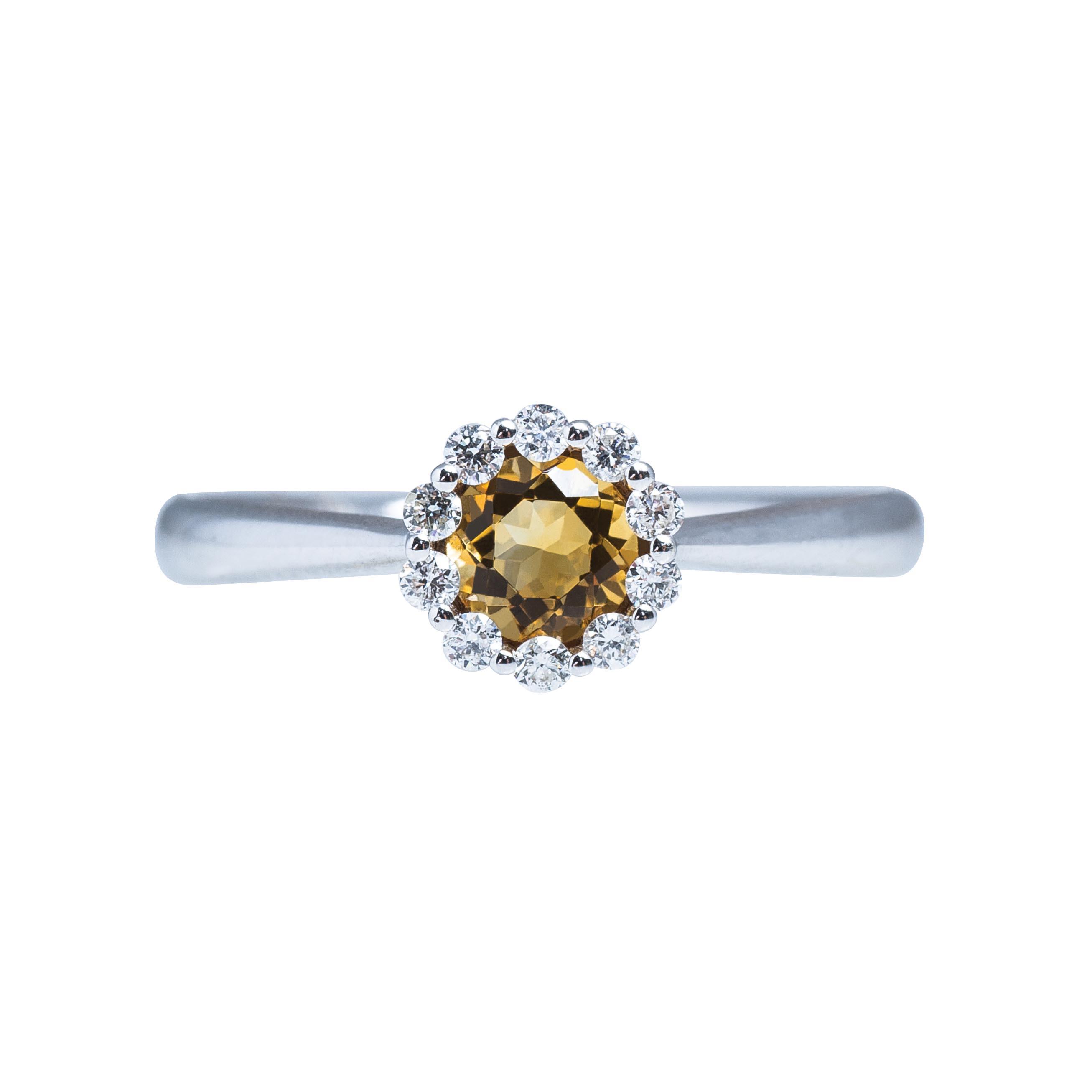 New Madison L 0.50 CTW Citrine & Diamond Halo Ring