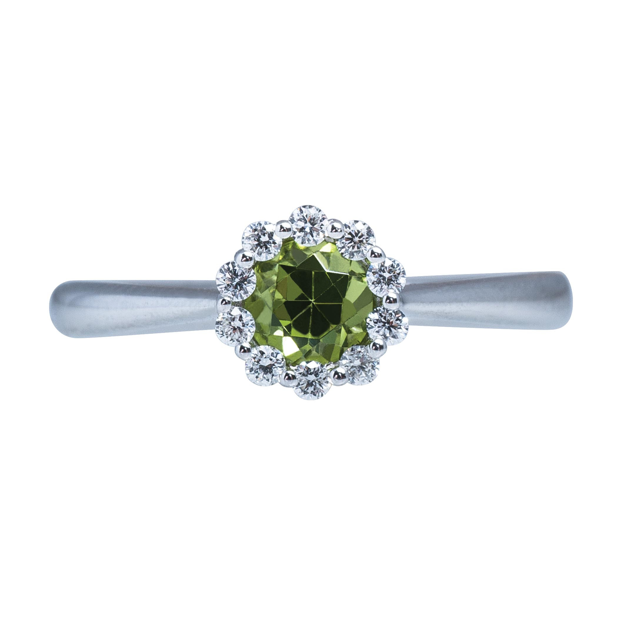 New Madison L 0.61 CTW Peridot & Diamond Halo Ring