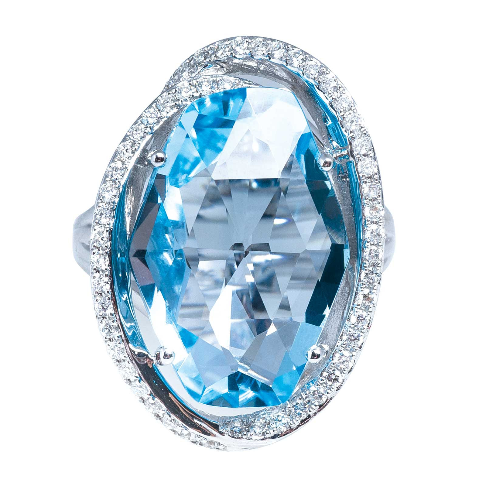 New Madison L 12.93 CTW Blue Topaz & Diamond Ring