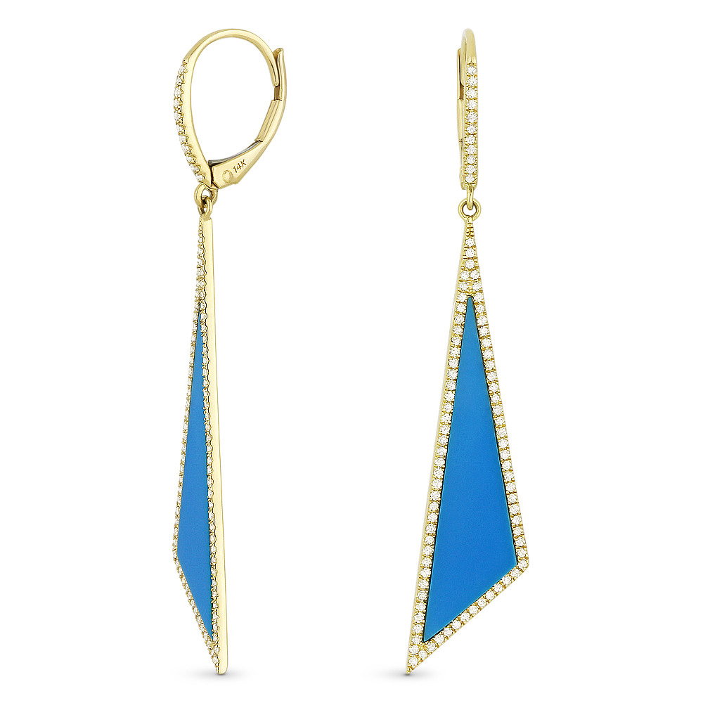 New Madison L Diamond & Turquoise Stiletto Earrings