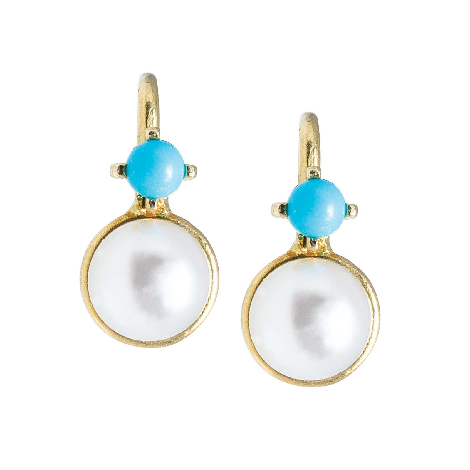 Vintage Cultured Pearl & Turquoise Earrings