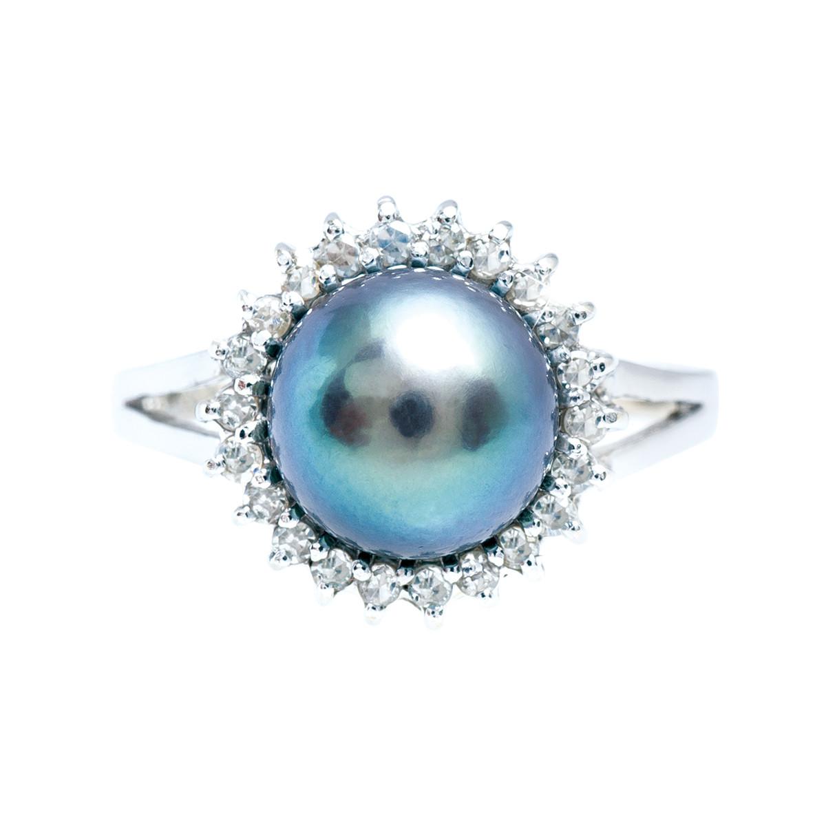 Vintage 0.11 CTW Diamond & Tahitian Cultured Pearl Ring