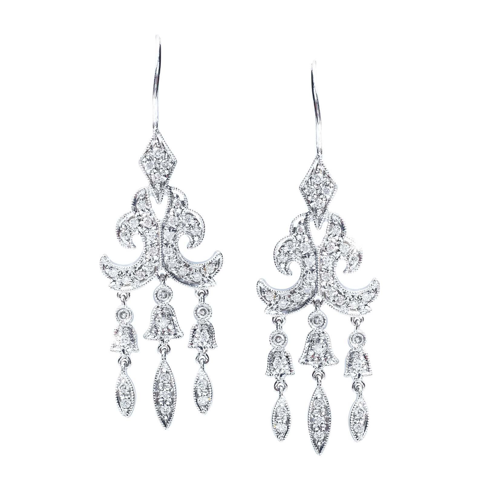 Vintage 0.40 CTW Diamond Chandelier Earrings