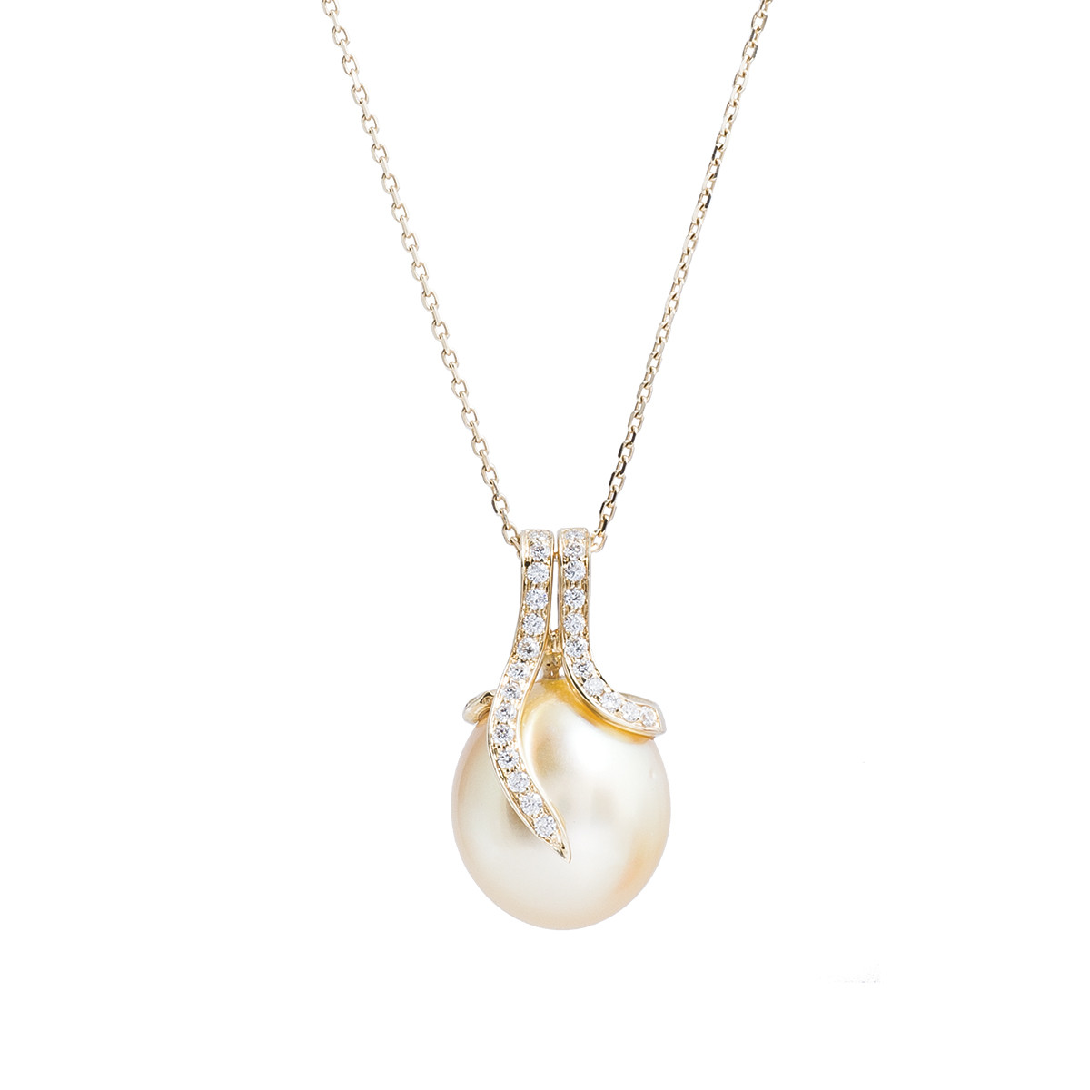 Vintage 0.13 CTW Diamond & Golden South Sea Pearl Pendant