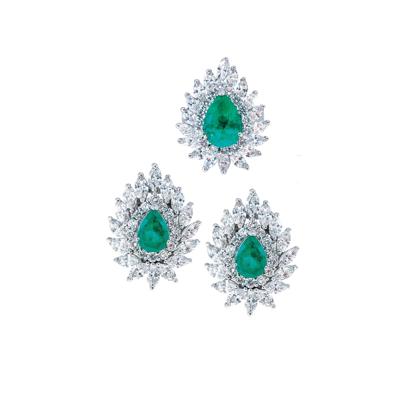 Vintage 14.93 CTW Emerald & Diamond Ring & Earrings Set