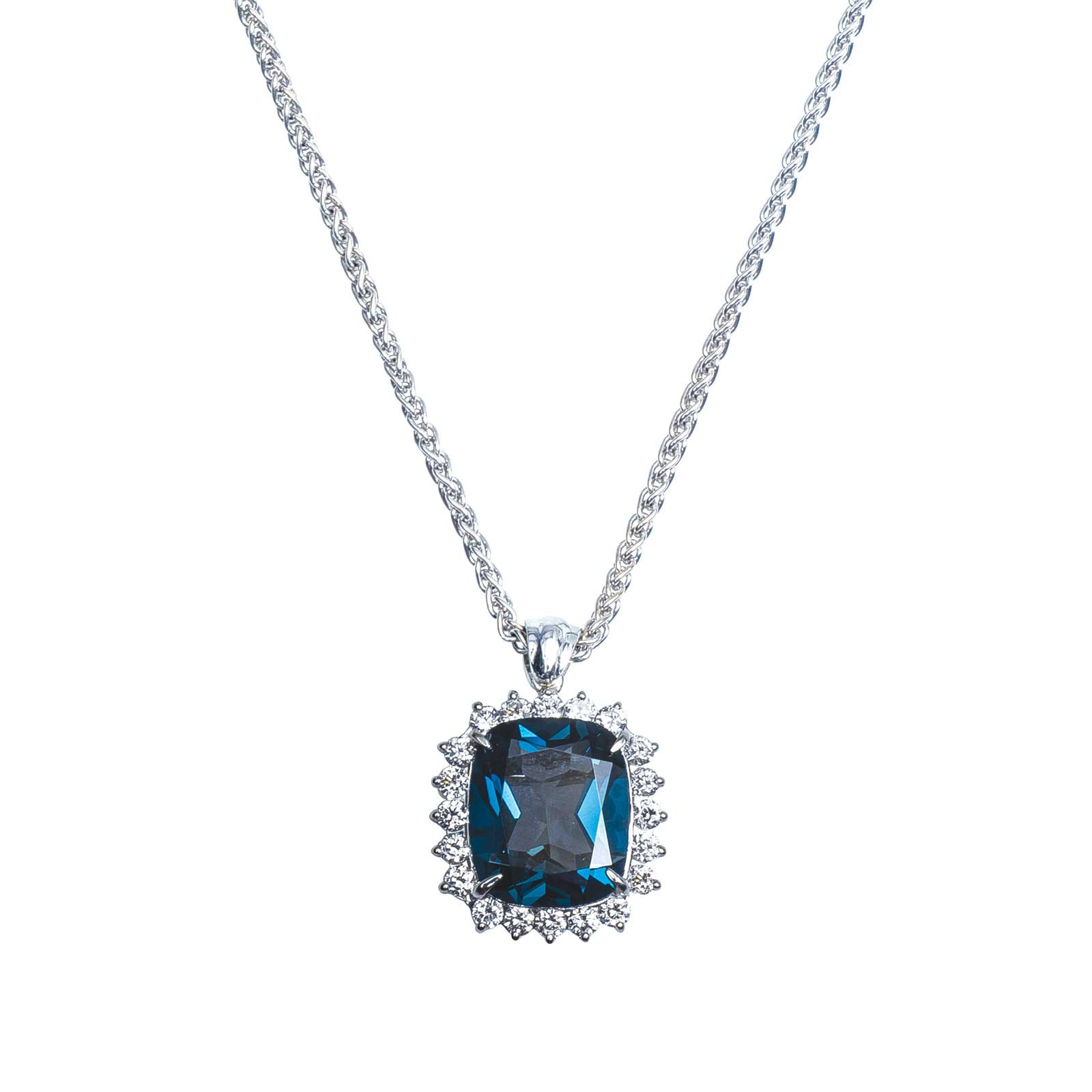 Vintage 0.61 CTW London Blue Topaz & Diamond Halo Pendant