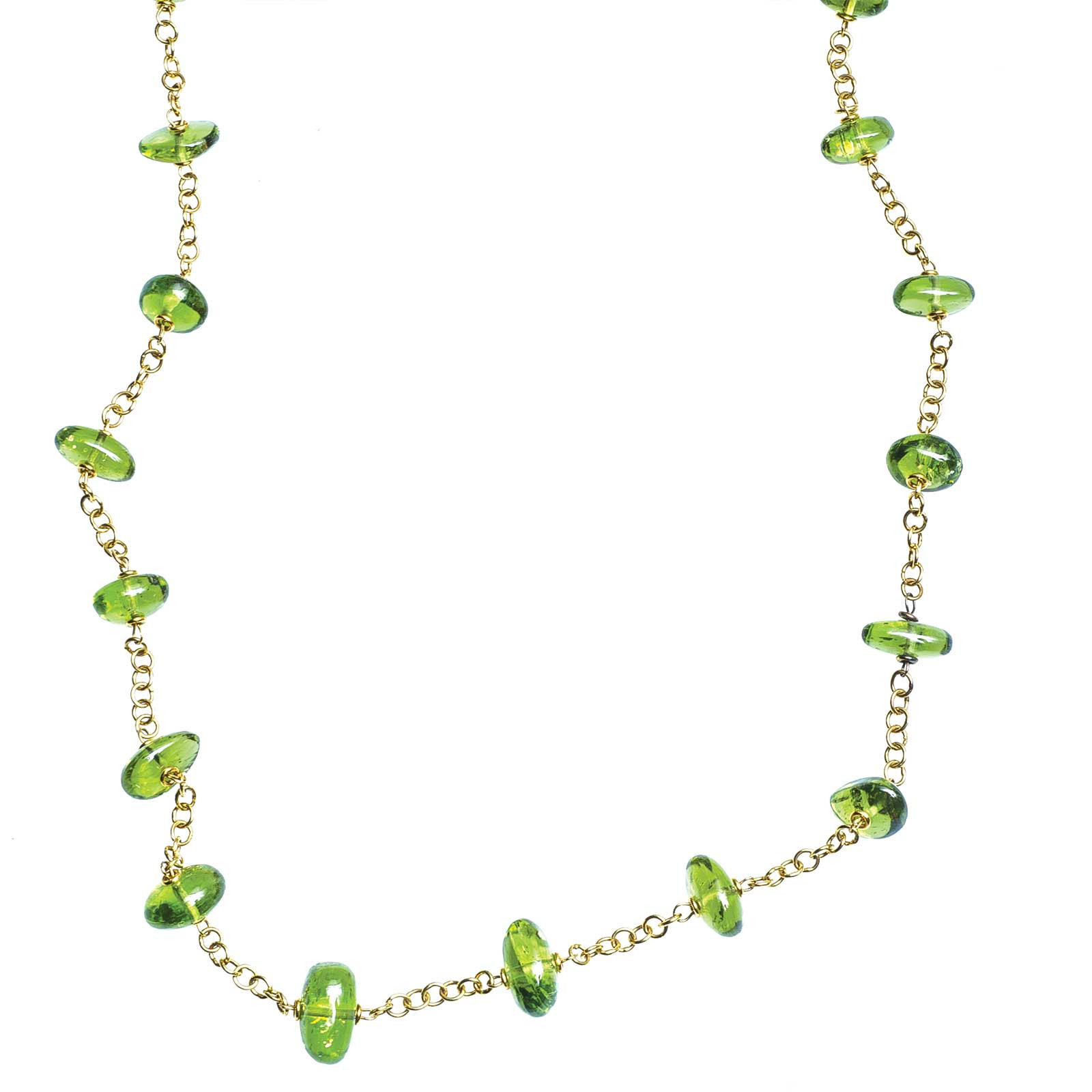 Vintage Peridot Bead Necklace