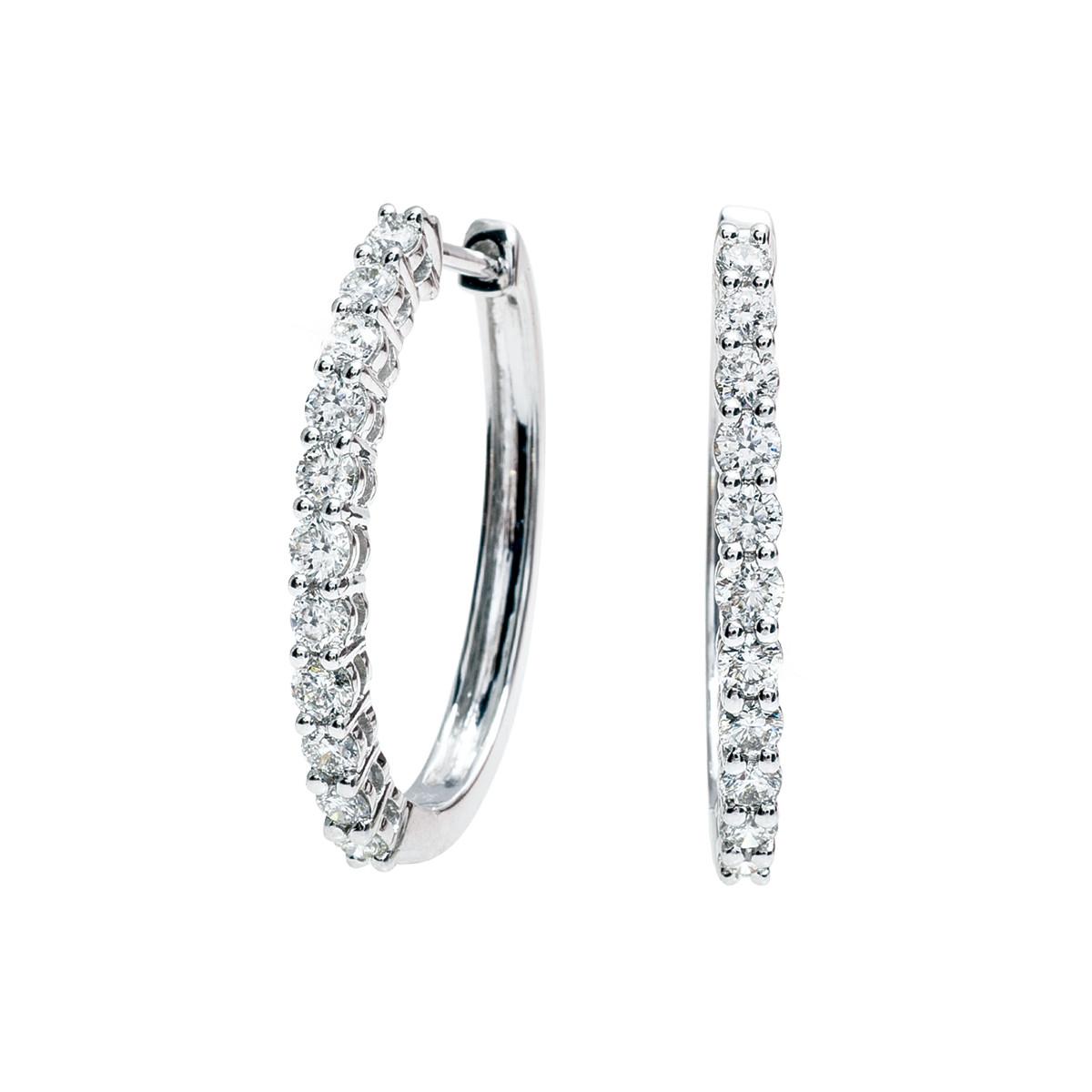 New 1.00 CTW Diamond Hoop Earrings