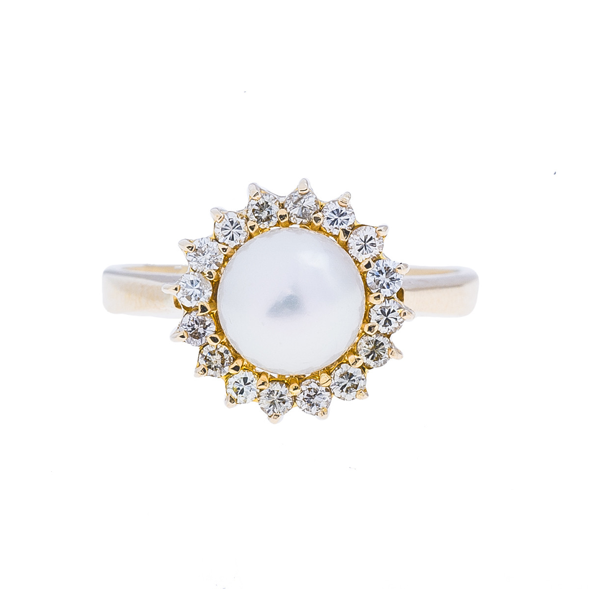 Vintage 0.16 CTW Diamond & White Cultured Pearl Ring