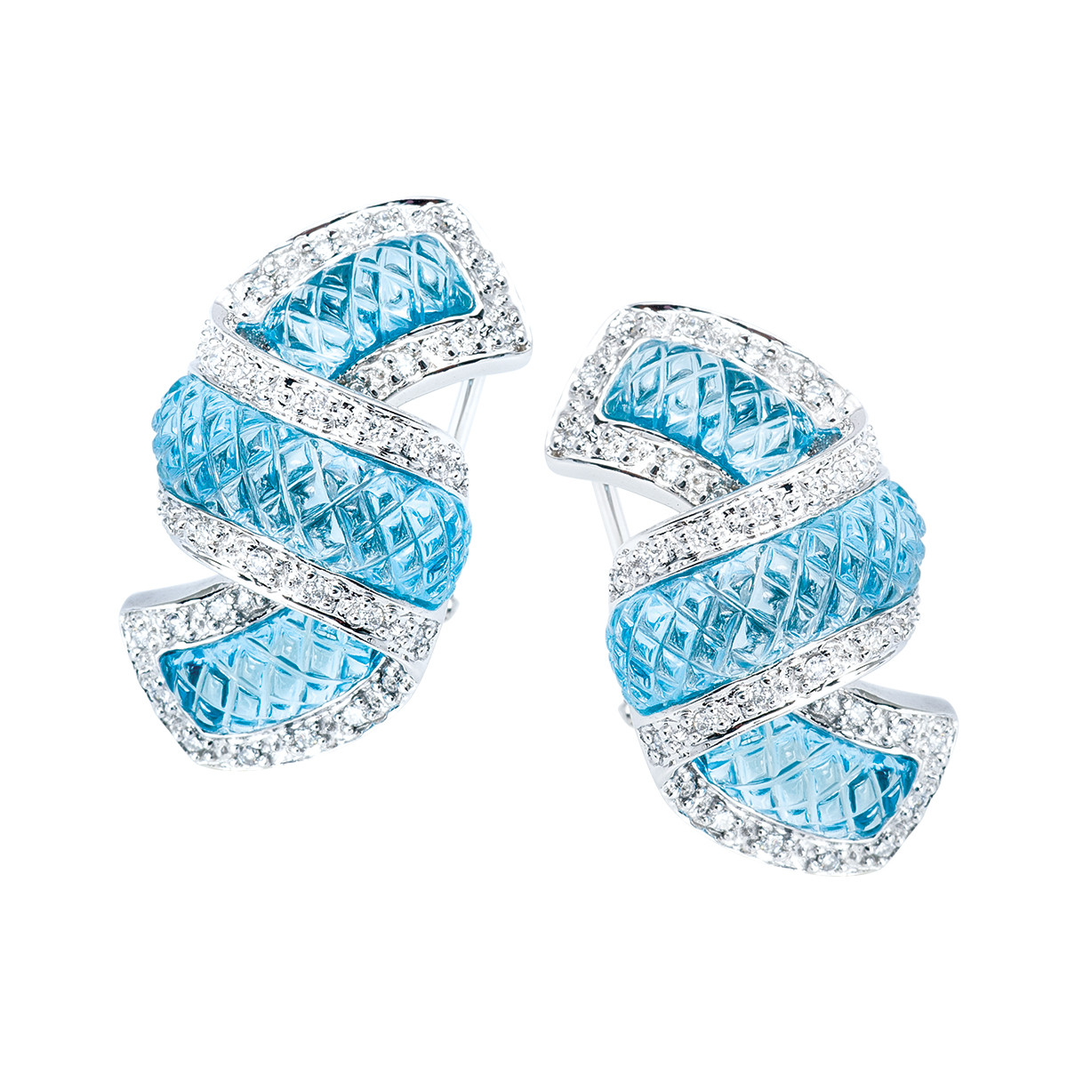 Vintage 0.36 CTW Diamond & Blue Topaz Earrings