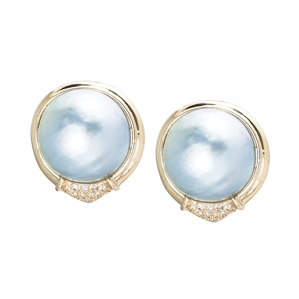 Vintage 0.20 CTW Diamond & Silver Mabe Pearl Earrings