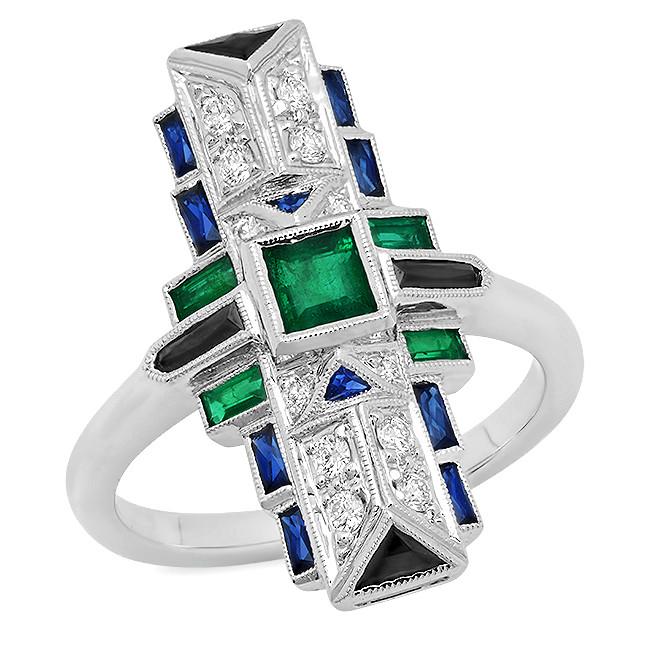 New Beverley K 1.50 CTW Emerald, Black Onyx, Blue Sapphire & Diamond Art Deco Inspired Ring