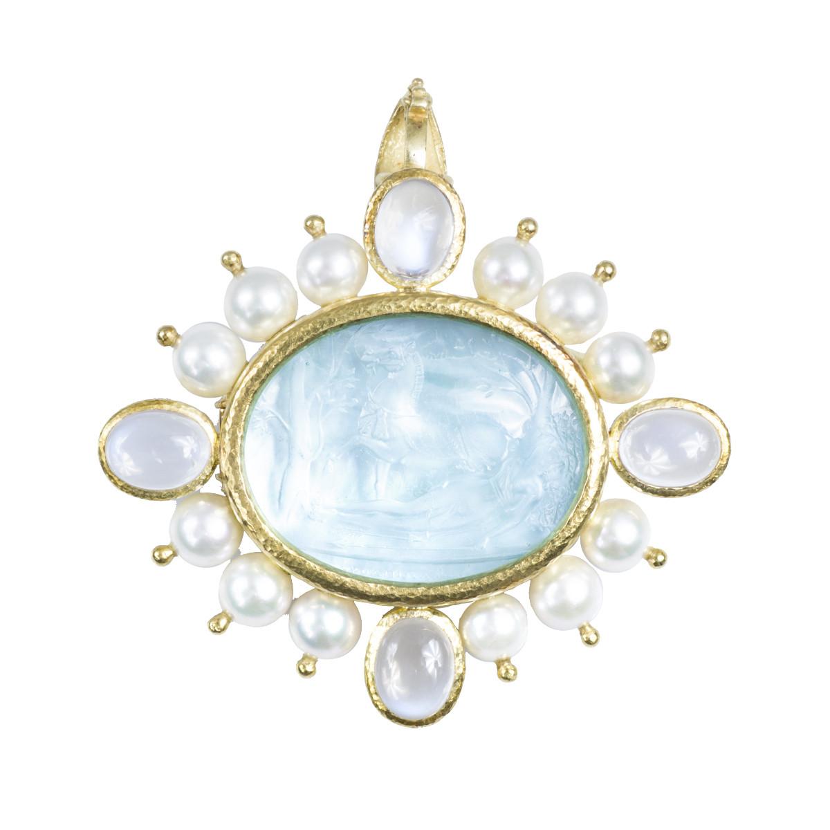 Vintage Elizabeth Locke Venetian Intaglio Glass, Moonstone & Pearl Brooch