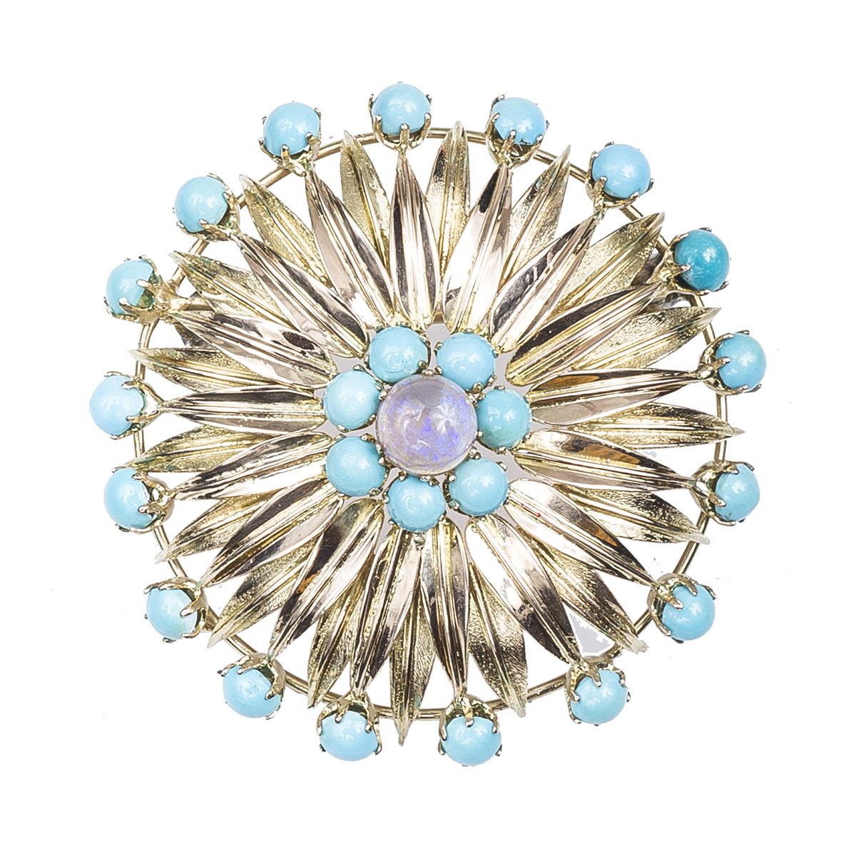 Vintage Opal & Turquoise Sunflower Brooch