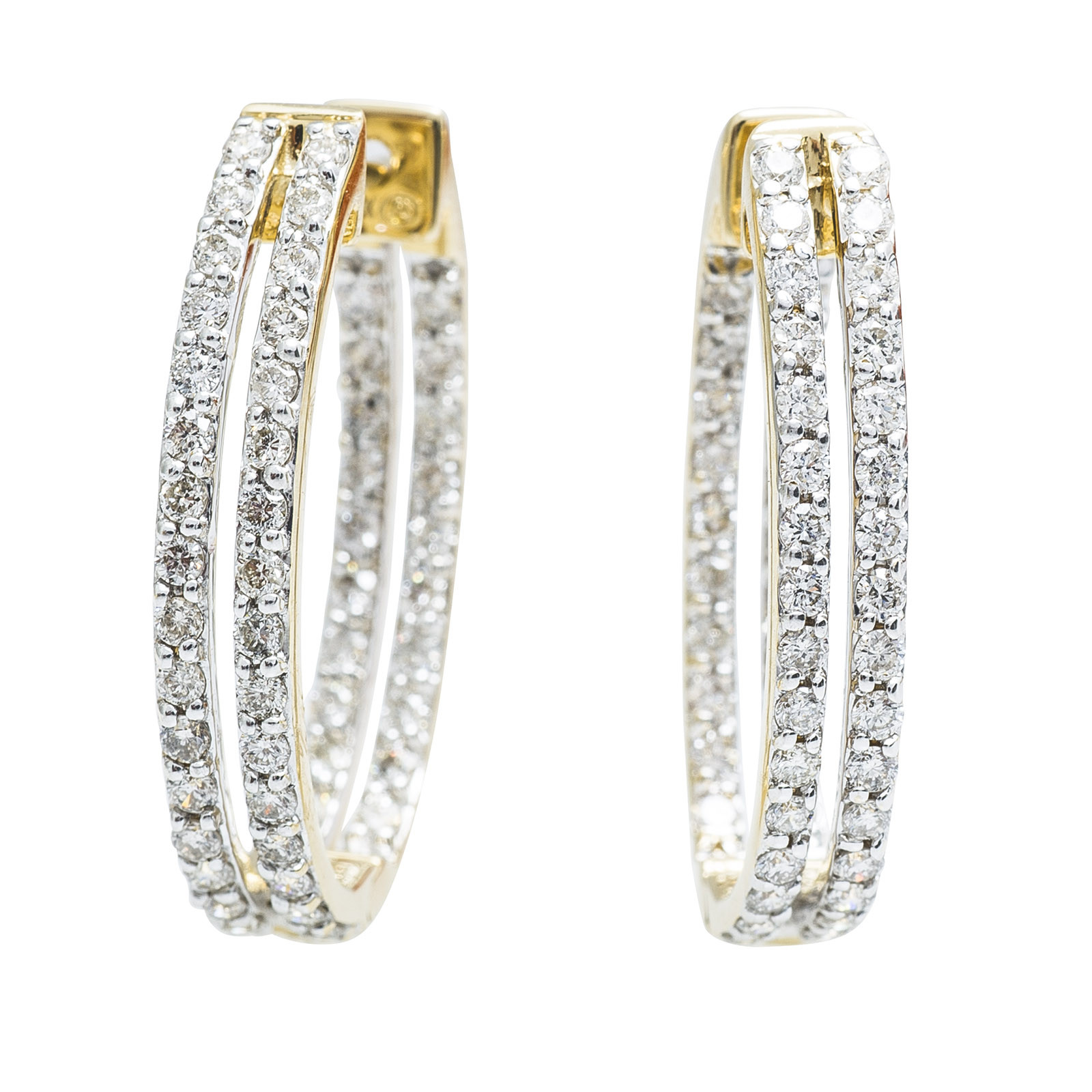 New Oro Alexander 1.00 CTW Diamond Hoop Earrings