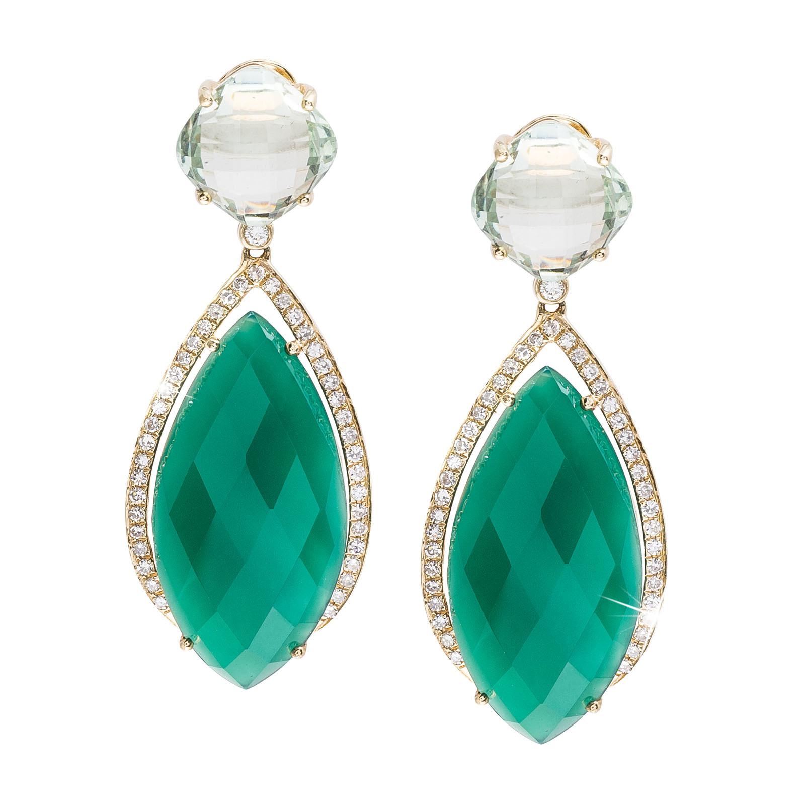 New Madison L 7.66 CTW Diamond, Green Amethyst & Agate Earrings