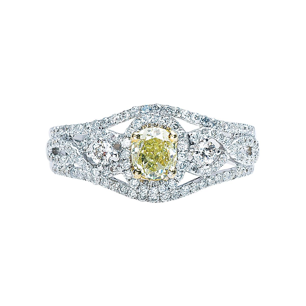 Vintage 1.10 CTW White & Yellow Diamond Engagement Ring