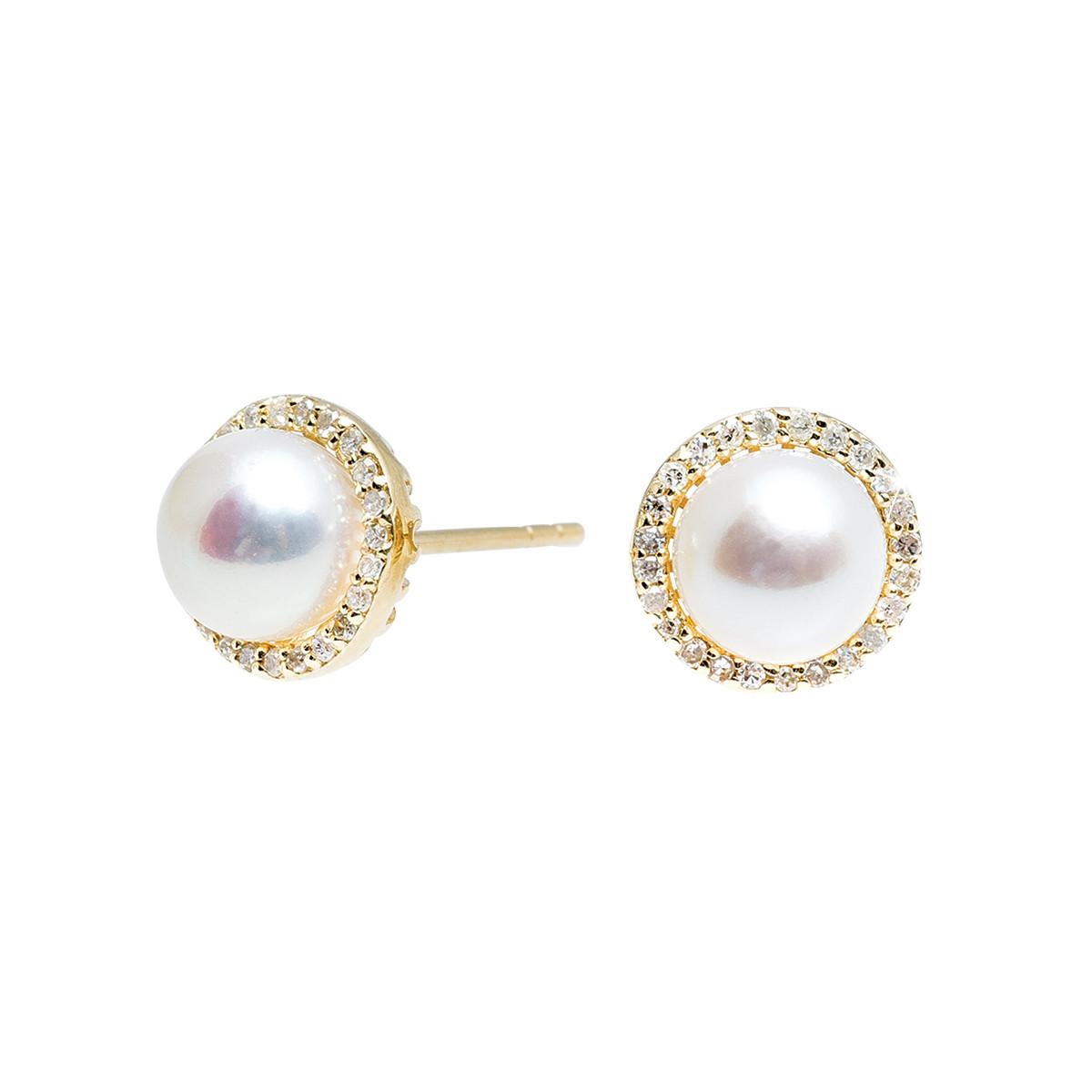New Madison L 0.16 CTW Diamond & Pearl Earrings