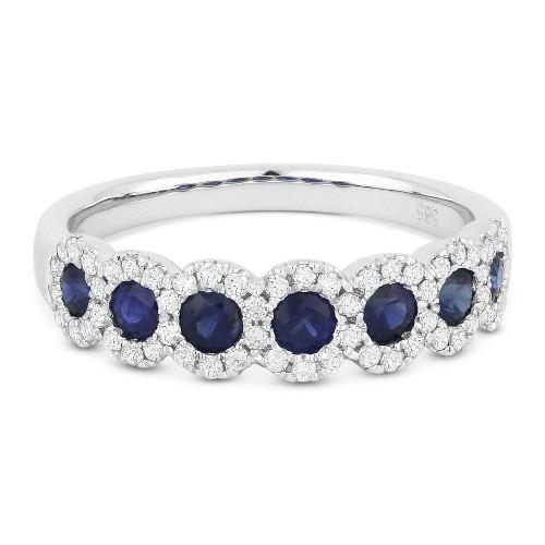 New Madison L 0.98 CTW Blue Sapphire & Diamond Anniversary Band