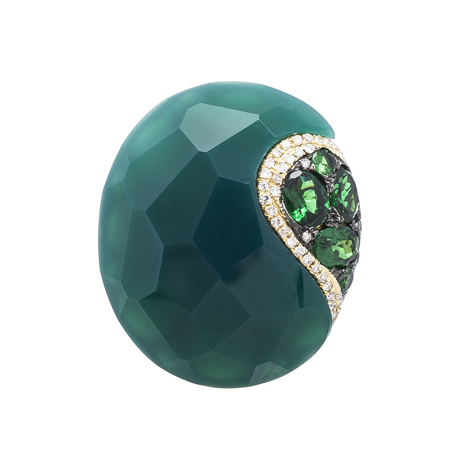 New Madison L 21.95 CTW Green Agate, Garnet & Diamond Ring