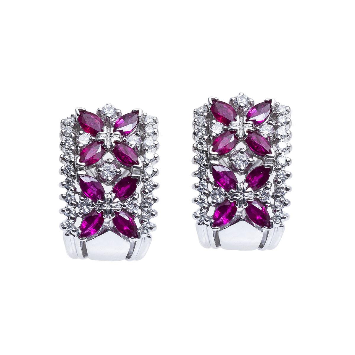 Vintage 1.40 CTW Diamond & Ruby Flower Earrings