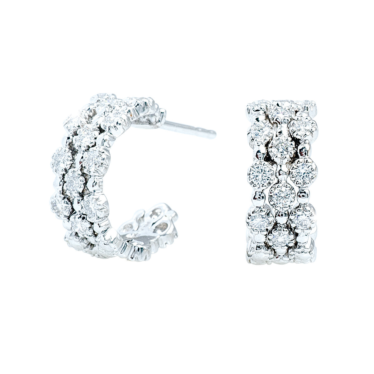 Vintage Kwiat 0.65 CTW Diamond Stardust Hoop Earrings