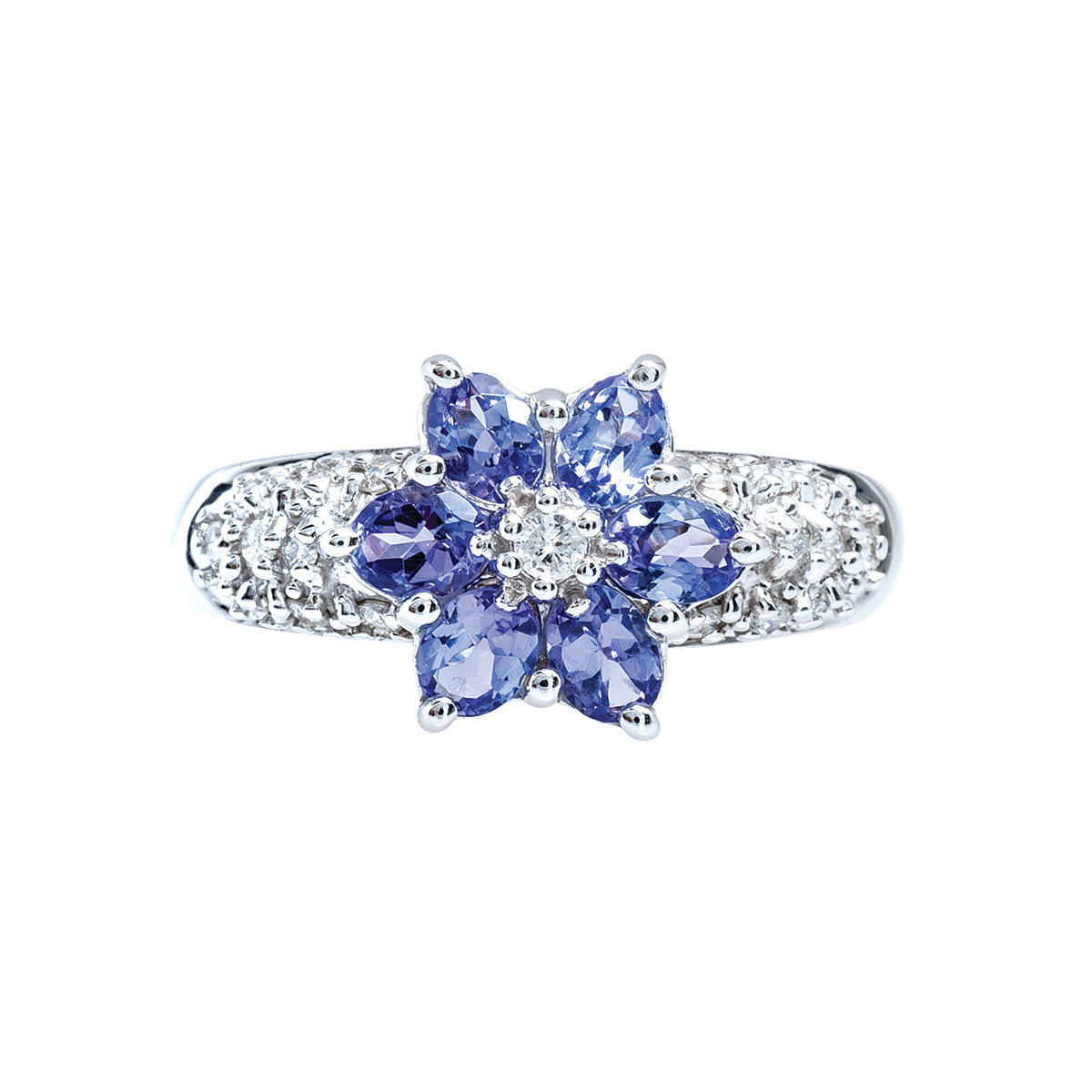 Vintage 1.10 CTW Tanzanite & Diamond Flower Ring