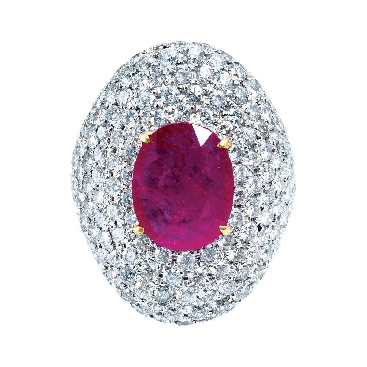 Vintage 9.25 CTW Diamond & Ruby Ring