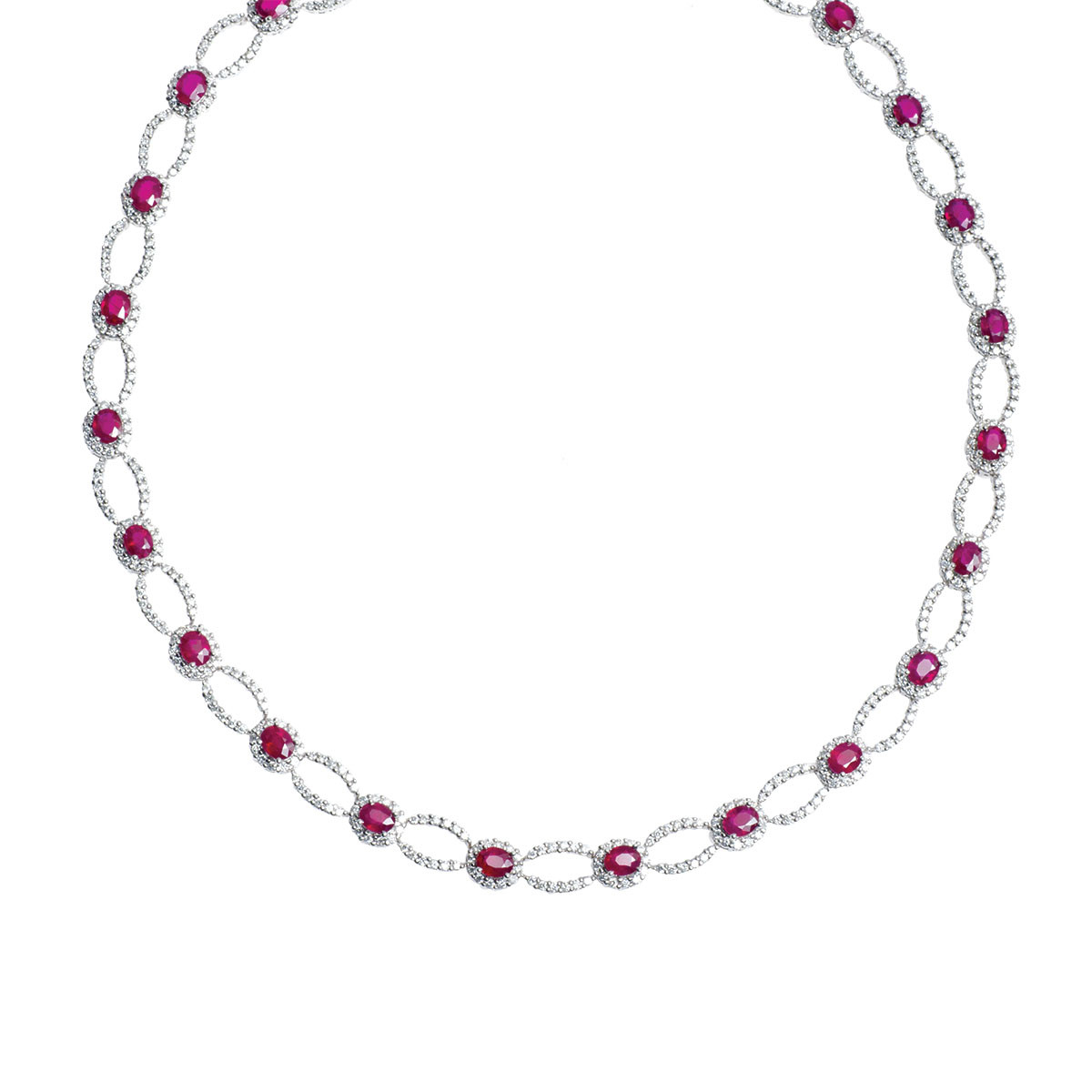 Vintage 14.80 CTW Diamond & Ruby Necklace