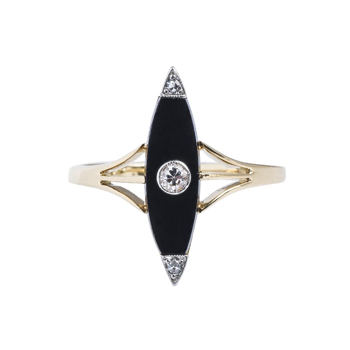 Vintage 0.09 CTW Diamond & Black Onyx Ring