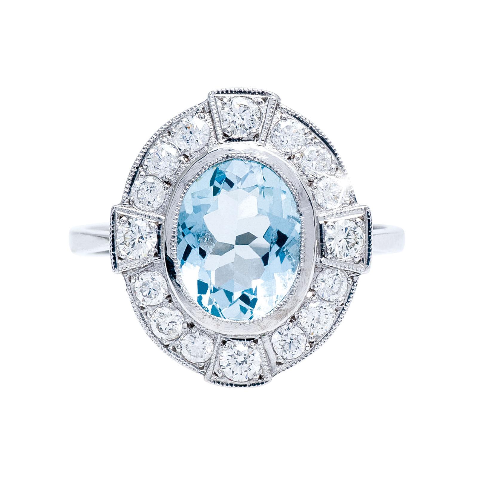 Vintage 1.99 CTW Aquamarine & Diamond Ring